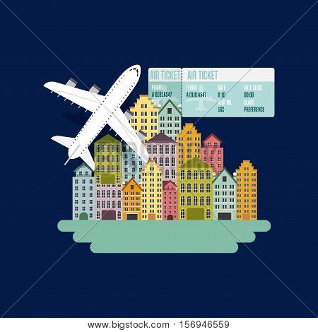 city urban buildings and airplane icon over blue background. colorful design. vector illustration