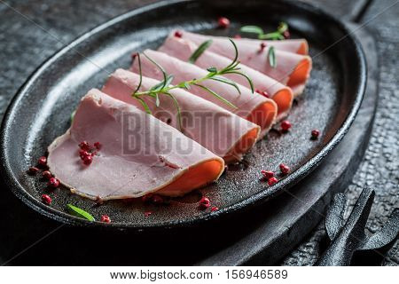 Smoked Cold Cuts On Black Buried Board