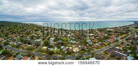 Aerial Panorama Of Frankston Suburb In Australia