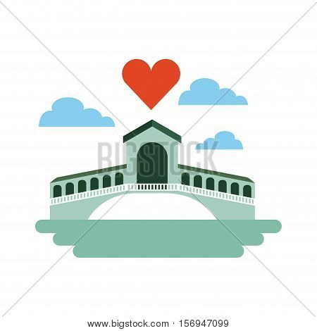 iconic venetian bridge with heart icon over white background. colorful design. vector illustration