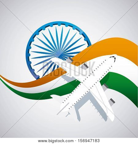 airplane vehicle and india flag over background. vector illustration