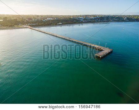 Aerial View Of Frankston Pier At Sunrise, Australia