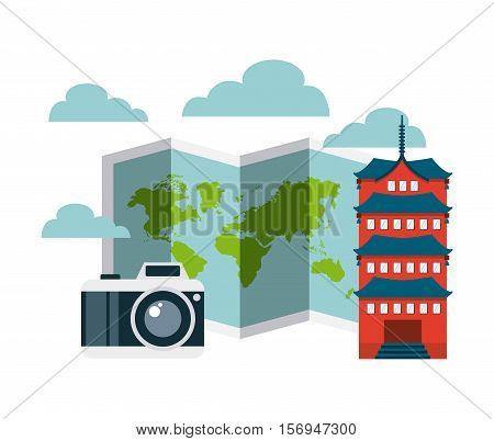 world map and camera photographic with chinesse iconic building over white background. vector illustration