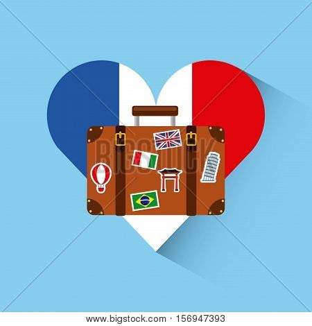 france flag in heart shape with travel suitcase icon over blue background. colorful design. vector illustration