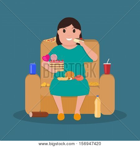 Vector illustration concept unhealthy lifestyle, human laziness. Cartoon fatty wife sitting on couch and eat junk food. Fat woman obese on sofa. Flat style. Harmful food for health.