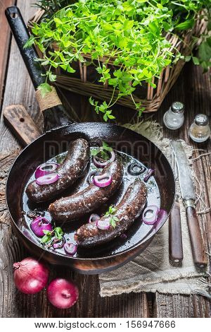 Hot Black Pudding With Parsley And Onion