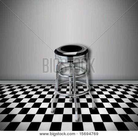 Retro style interior with metal bar stool