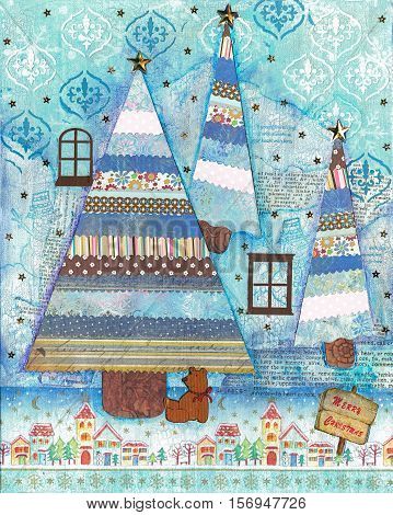 Christmas card mixed media art made from paper cutting stamps and drawing