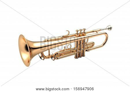 Trumpet - Golden trumpet classical instrument isolated on white 3D illustration