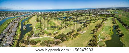 Aerial Panorama Of Patterson River Golf Club, Melbourne, Australia