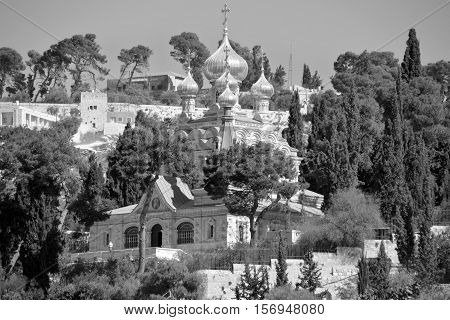 JERUSALEM ISRAEL 25 11 16: Gold Domes of church is dedicated to Mary Magdalene. According to the16th chapter of the gospel of Mark, Mary Magdalene was the first to see Christ after his resurevtion