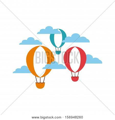 colorful air balloons flying on the sky. vector illustration