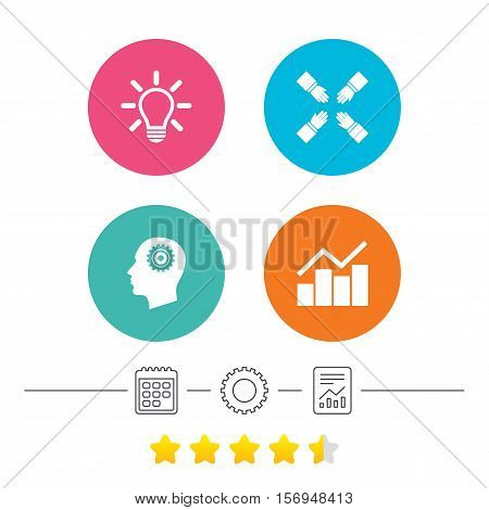 Lamp idea and head with gear icons. Graph chart diagram sign. Teamwork symbol. Calendar, cogwheel and report linear icons. Star vote ranking. Vector