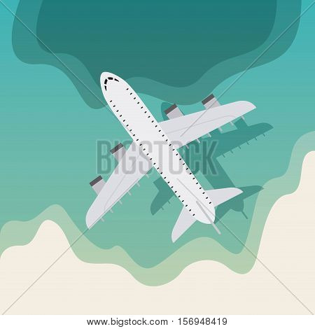 airplane flying over blue ocean. colorful design. vector illustration