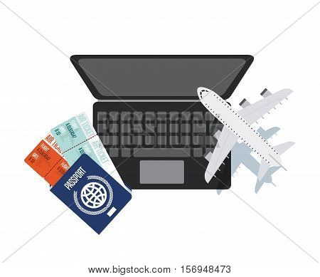 airplane and laptop computer with passport icons over white background. colorful design. vector illustration