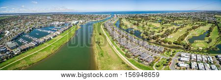 Aerial Panorama Of Patterson Lakes Suburb And River With Golf Club, Melbourne, Australia