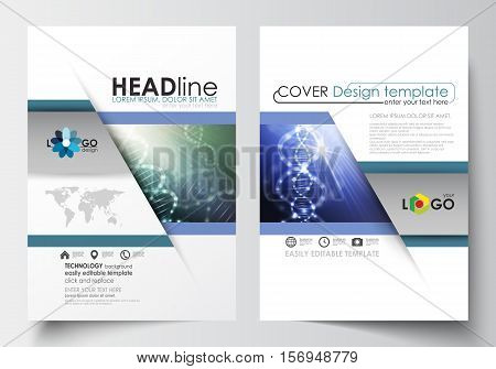 Business templates for brochure, magazine, flyer, booklet or annual report. Cover design template, easy editable blank, abstract flat layout in A4 size. DNA molecule structure, science background. Scientific research, medical technology.