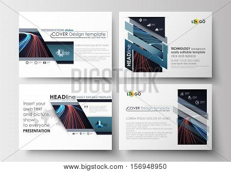 Set of business templates for presentation slides. Easy editable abstract layouts in flat design. Abstract lines background with color glowing neon streams, motion design vector.