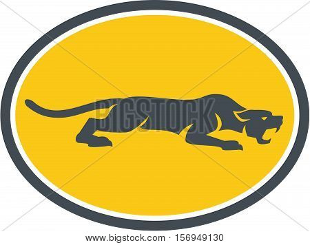 Illustration of black panther cat prowling viewed from the side set inside oval shape on isolated background done in retro style.