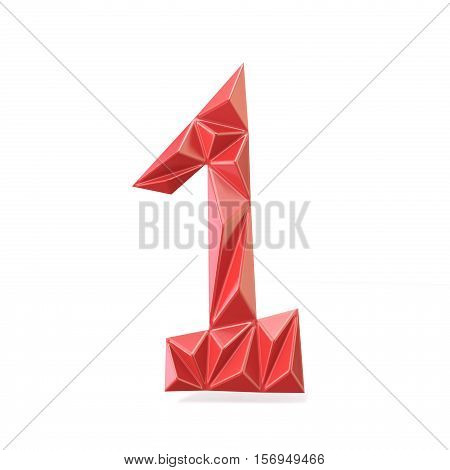 Red Modern Triangular Font Digit One 1 3D