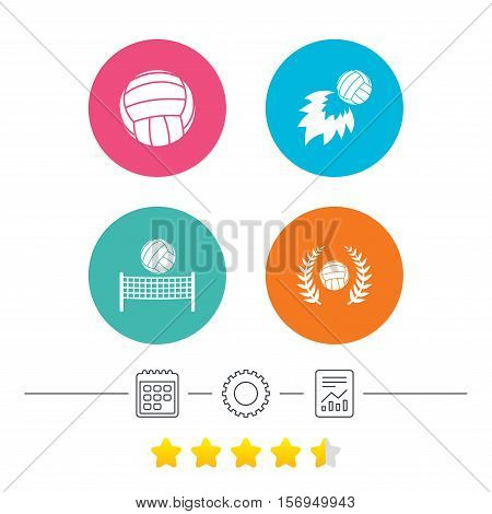 Volleyball and net icons. Winner award laurel wreath symbols. Fireball and beach sport symbol. Calendar, cogwheel and report linear icons. Star vote ranking. Vector