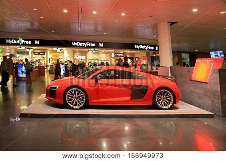 MUNICH, GERMANY - JULY 25, 2016: AUDI stand in Duty free area in Munich International Airport, Germany. The Munich Airport (MUC) Germany's second busiest airport is a major hub for Lufthansa (LH)