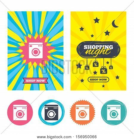 Sale banners, online shopping. Washing machine icon. Home appliances symbol. Shopping night. Vector