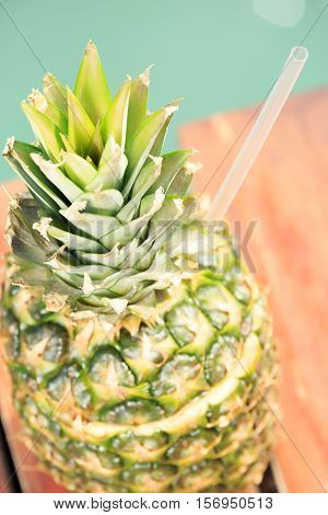 Exotic Cocktail In The Pineapple. Sea Pier. Concept Of Luxury Vacation. Beach Party