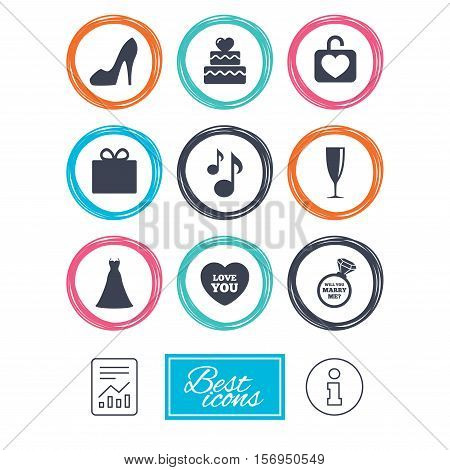 Wedding, engagement icons. Cake with heart, gift box and brilliant signs. Dress, shoes and musical notes symbols. Report document, information icons. Vector