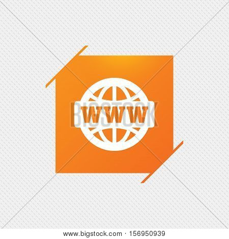 WWW sign icon. World wide web symbol. Globe. Orange square label on pattern. Vector