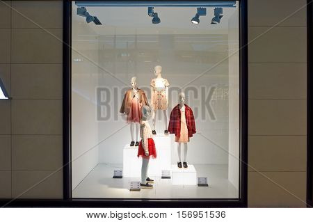 HONG KONG - JANUARY 26, 2016: a display window of a Zara store at the Elements shopping mall. Elements is a large shopping mall located on 1 Austin Road West, Tsim Sha Tsui, Kowloon, Hong Kong