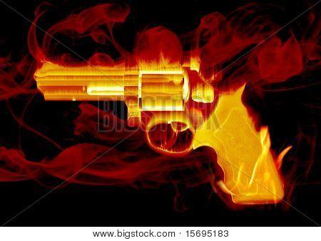 Blazing red smoking hand gun
