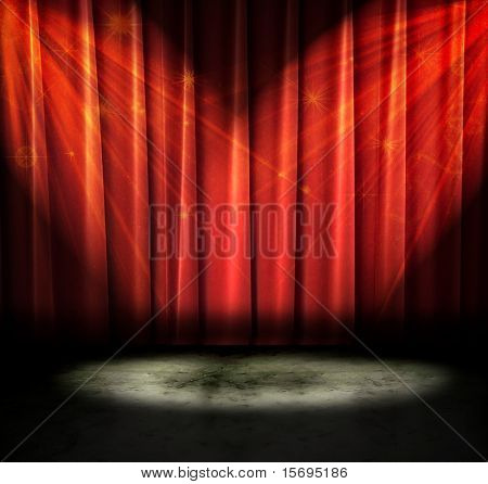 Red curtains on a stage with sparkly lights