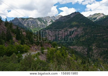 Switzerland of America view in the Rocky Mountains near Durango Colorado USA Vast Mountain Valley in Summer