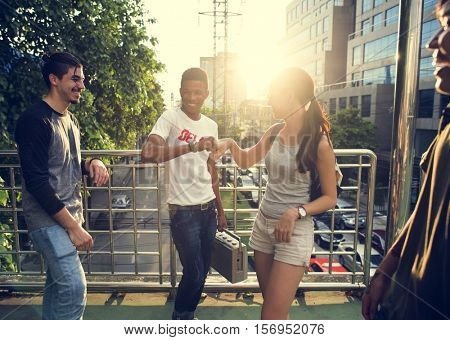 Friendship Fist Bump Greeting Togetherness Youth Culture Concept