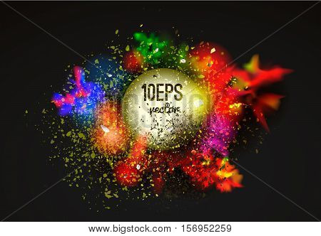 Vector abstraction from a mixture of colors explosion color spray fly away stains with a spray of water colorsthe author's work.Background for banner poster identitycard web design.