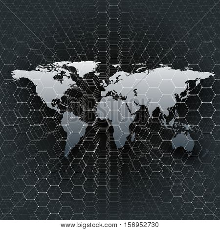 Gray world map, connecting lines and dots on black color background. Chemistry pattern, hexagonal molecule structure, scientific or medical research. Medicine, science, technology concept. Abstract design vector decoration.