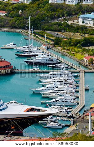 Pontoon berthing with yachts in natural light