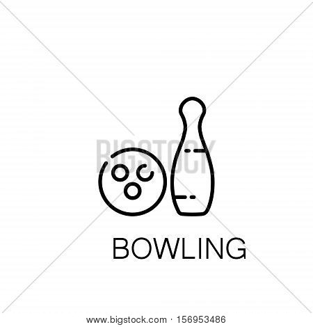 Bowling flat icon. Single high quality outline symbol of sport for web design or mobile app. Thin line signs of bowling for design logo, visit card, etc. Outline pictogram of bowling