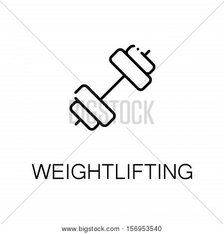 Weightlifting flat icon. Single high quality outline symbol of sport for web design or mobile app. Thin line signs of weightlifting for design logo, visit card, etc. Outline pictogram of weightlifting