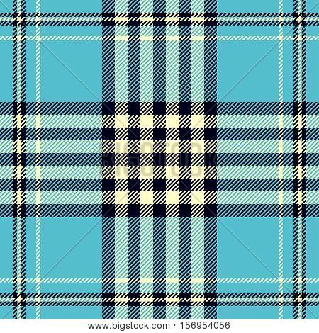 Seamless tartan plaid pattern. Checkered textile design in light yellow & black weave stripes on light cyan blue background. Robin egg blue plaid print.