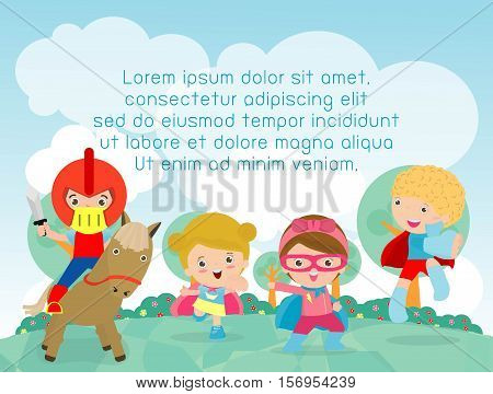 superhero kids playing outside, Template for advertising brochure,your text, child and frame,Vector Illustration