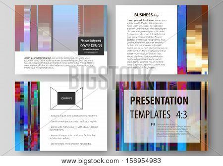 Set of business templates for presentation slides. Easy editable abstract layouts in flat design, vector illustration. Glitched background made of colorful pixel mosaic. Digital decay, signal error, television fail. Trendy glitch backdrop.