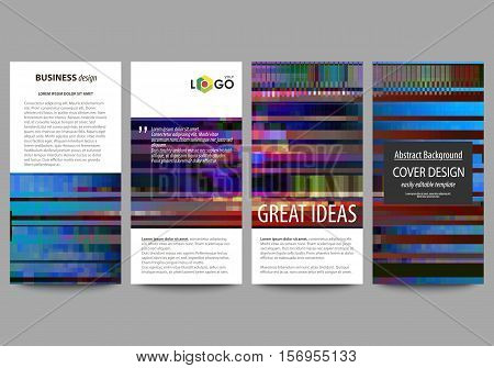 Flyers set, modern banners. Business templates. Cover design , abstract vector layouts. Glitched background made of colorful pixel mosaic. Digital decay, signal error, television fail. Trendy glitch backdrop.