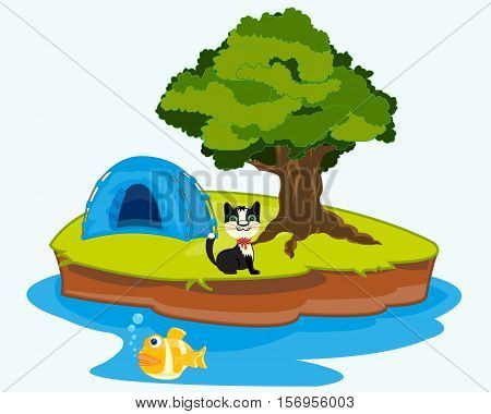 The Tent on small island in ocean.Vector illustration