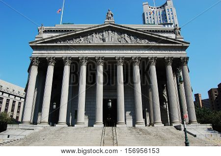 New York State Supreme Courthouse, in Foley Square, 60 Center Street, Manhattan, New York City, New York, USA.