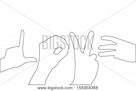 Hand Love Path on the white background