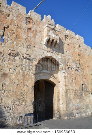 JERUSALEM, ISRAEL 28 10 2016: Details of the Lions Gate is the start point of the Via Dolorosa, the last walk of Jesus from prison to crucifixion.