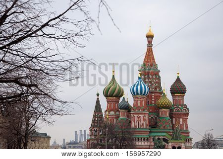 The Cathedral of Vasily the Blessed or Saint Basil's Cathedral is a church in the Red Square in Moscow, Russia.