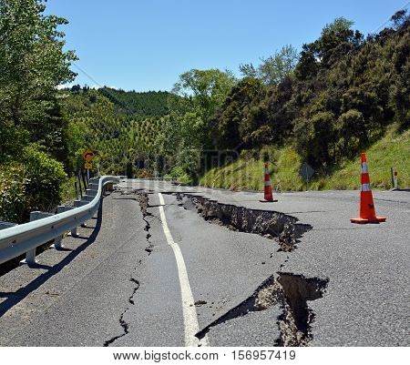 Kaikoura New Zealand - November 15 2016: Massive Cracks have appeared in The Hunderlee Hills on Highway One North Canterbury after the 7.5 Kaikoura Earthquake.